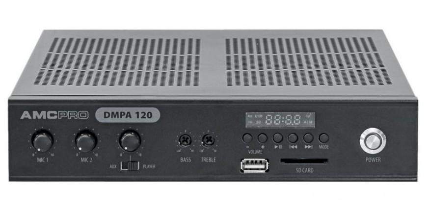 AMC DMPA 120, PA mikšerinis stiprintuvas su integruotu audio media grotuvu